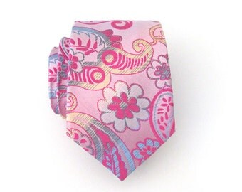 Necktie Pink Floral Paisley Mens Tie