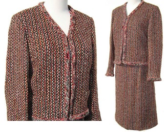 Vintage 80s Suit Celine Paris Wool Tweed Jacket & Skirt M