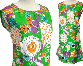 Vintage 70s Mod Dress Abstract Green Orange Purple Cotton Shift NOS - M