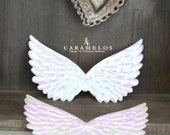 2 Iridescent White Embossed Fabric Angel Wings 4.75""