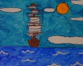 Merchant Ship outsider Original color folk art painting autism Artist Simo free shipping