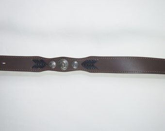 Wrangler Leather Vintage Concho 80s Sonora Mexico Western Belt