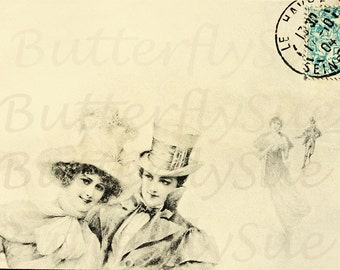 Digital Download,Victorian Vienne Winter Postcard Image,Romantic Ice Skaters,.Instant download 300dpi