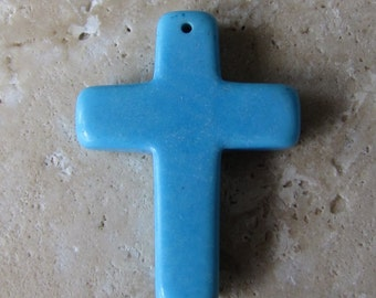 4 Magnesite Cross, Southwestern, 1 1/2 Inch Long, Blue Stone, Cowgirl, Rodeo, Religious, Bible Bookmark Idea, Britz Beads Supply