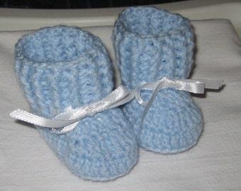 Crochet Baby Blue Booties/Newborn Booties/Blue Booties