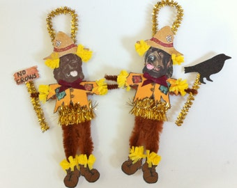 Newfoundland Dog SCARECROW Halloween vintage style CHENILLE ORNAMENTS set of 2