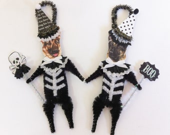 German Shepherd SKELETON Halloween vintage style CHENILLE ORNAMENTS set of 2
