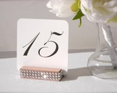 Table Number Holder + Rose Gold Table Number Holder trimmed with a crystal wrap + Rose Gold Wedding (Set of 10)