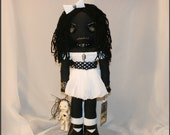 OOAK Hand Stitched Black Art Rag Doll Creepy Gothic Folk Art By Jodi Cain Tattered Rags