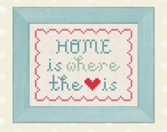 Home is Where the Heart is. Text Modern Simple Cute Counted Cross Stitch Pattern PDF File. Instant Download