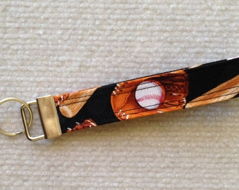 Baseball Fabric key fob wrist loop