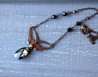 Swooping Swallow Necklace / Swoop Brass Bird Jewelry with Large Crystal Swarovski in Black Diamond / Soaring Winged Bird Necklace