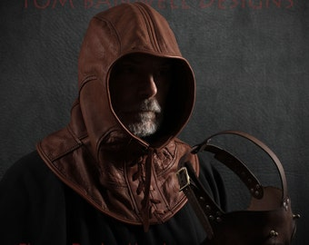 Plague Doctor hood in brown garment leather