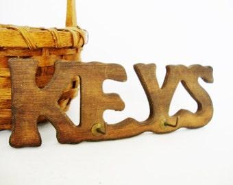 vintage rustic wood letters key holder wall plaque hooks