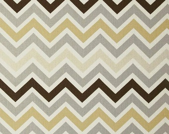 Clearance Premier Prints Zoom Zoom River Rock Twill- Fabric by the Yard - Home Decorating Fabric Chevron Fabric Neutral Tan Brown Gold