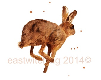 Watercolour HARE Print, country kitchen decor, march hare, march trends, springtime