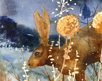 Hare Watercolor Print, Moon painting, British countryside