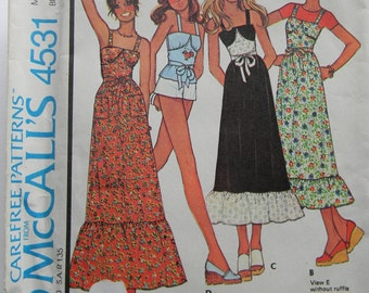 Vintage McCall's Dress and Top Pattern N 4531 Uncut, 1975