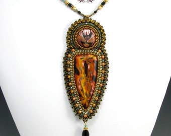 Gold, Blue, and Black Polymer Clay Pendant Necklace, Bead Embroidery