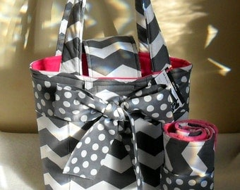 Medium Gray Chevron with Polka Dot Sash/Bow Diaper Bag Set with Changing Mat/Pad