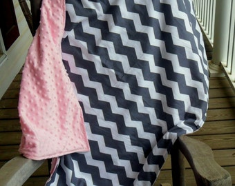 Large Gray Chevron and Light Baby Pink Minky Dot Blanket CHOICE OF MINKY