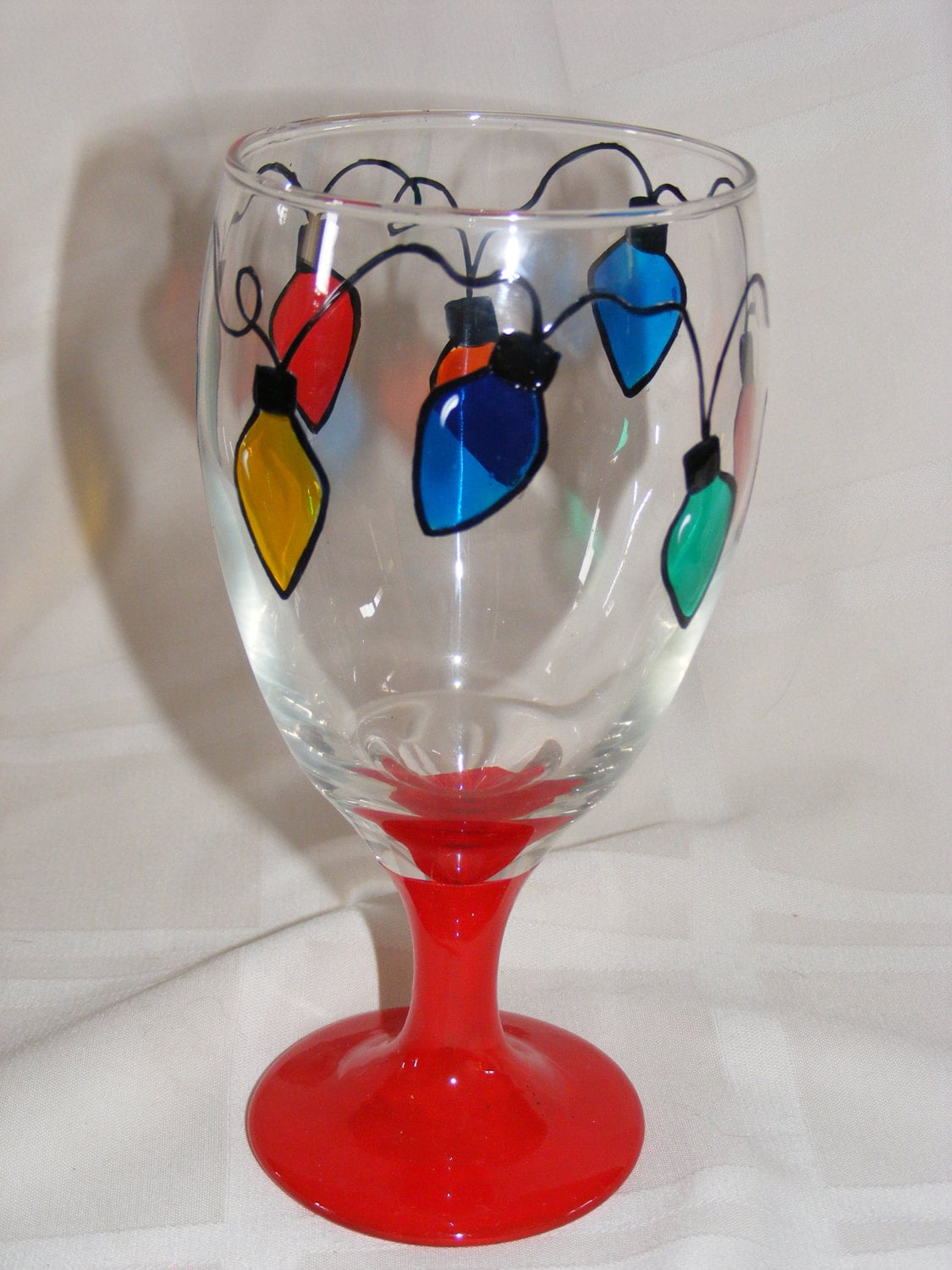 Hand painted christmas lights glass goblet for Christmas glass painting