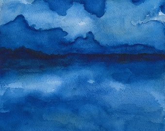 Along the Shoreline - large archival print of watercolor painting - 11 X 12 inches
