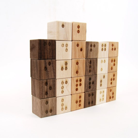 Braille Alphabet Blocks - Visually Impaired Blocks - Braille Blocks - Blind Blocks - Wood Blocks - Wood Toy - Early Learning Toy -BL24