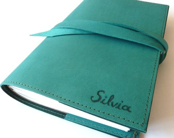 FREE SHIPPING, Personalised Leather Journal Refillable, Teal
