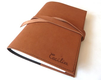 FREE SHIPPING, Personalised Leather Journal Refillable, Dark Brown