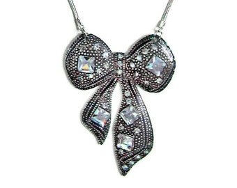 Bejeweled Bow Necklace large pendant Gifts for her