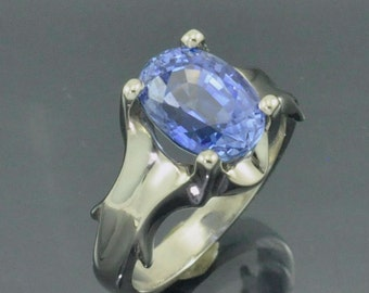 White Gold Scallop Ring with 4.37ct. Blue Ceylon Sapphire Center Stone