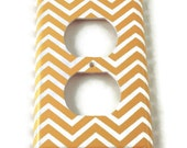 Outlet Switch Plate Light Switch Cover Wall Decor Light Switchplate  in Yellow Chevron (242O)