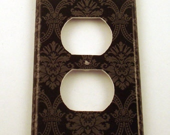 Switch Plate Light Switch Cover Wall Decor Switchplate  Outlet in  Black and Gray Damask (214O)