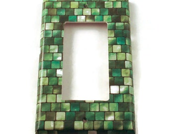 Rocker Light Switch Cover Wall Decor Switchplate Cover  Single Switch Plate in Green Tiles (198R)