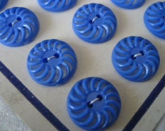 Set of 8 Small VINTAGE Pierced Blue Plastic French BUTTONS