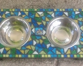 Elevated Pet Dish Holder - 1 Pt. Mosaic  - Lagoon