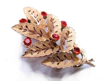 SALE! Vintage Leaf Brooch, Orange Rhinestone Pin, Coppery Metal