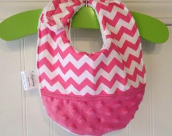 Baby-Toddler-Girl-Girls-Bib-Bibs-Pink-Chevron-Minky Dot-Preppy-Nursery-Gift-Gifts-Shower-Birthday-Holiday-personalized-