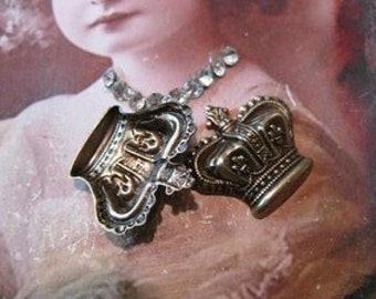 Vintage Ornate Brass Ox Plated Crown Stampings 404BOX x2