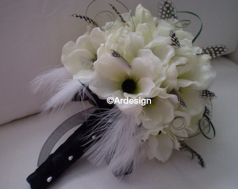 ART DECO Vintage Design Wedding Bouquet  With Feathers