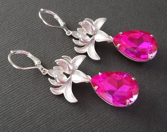 Silver Orchid And Fuchsia Faceted Teardrop Crystal  Earrings.