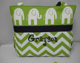 CHEVRON     ..  ELEPHANT   ...  TOTE ...  Diaper Bag ...Bottle Pockets ..  Monogrammed  FReE
