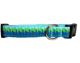 """Large """"The Blue Palm"""" Couture Dog Collar"""