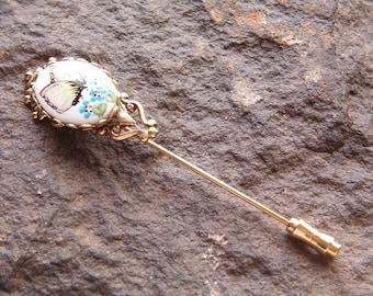 Pin, Fashion Pin, Vintage Butterfly Stick Brooch Pin, Vintage Stick Pin