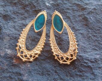 Earrings, Vintage Teal and Gold Tone Pierced Earrings