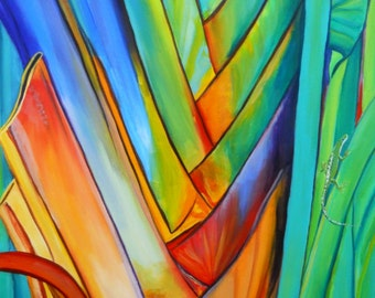 Giant Rainbow Heliconia 8x10 Print  from Kauai Hawaii by Marionette rainbow blue green orange mint teal