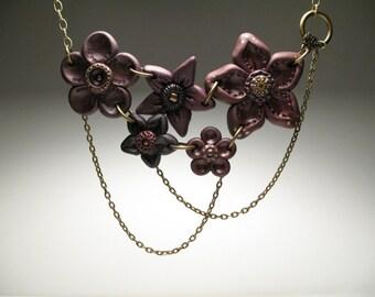 Everlasting Purple Bouquet of Flowers Necklace