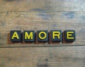 AMORE Vintage Wood Anagram Game Pieces, Gifts under 10, Gifts for Her, Vintage Valentines Day Gift, Inspirational, Retro Home Decor
