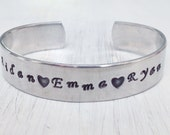 Make it your own - Personalized Hand Stamped Name Cuff Bracelet - Children Name Bracelet